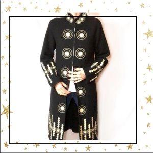 Neiman Marcus 100% Wool black Embroidered cardigan